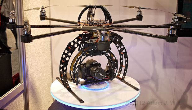 Octocopter carrying a Canon camera
