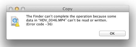 error -36 Finder I/O error