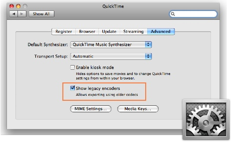 Legacy codecs setting in QuickTime Preferences